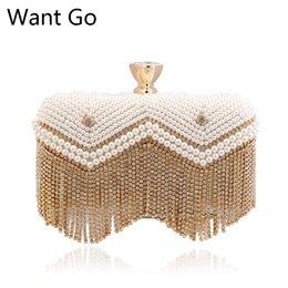 Bolsas de contas on-line-Quer Ir Moda Mulheres Pérola Beads Evening Purse Venda Quente Noiva PU de Couro Festa de Casamento Saco de Embreagem New Lady Sacos de Noite Diamante
