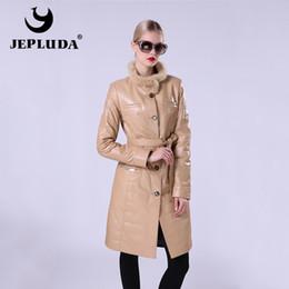 Wholesale leather jackets mink collar - JEPLUDA New Fashion Women's Leather Jacket Of Real Sheepskin Women's Leather Coat Stand Collar Of Natural Fur Mink Windbreaker