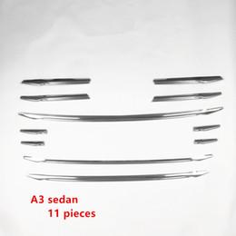 2019 faróis de nevoeiro dianteiros Grelha de ar de aço inoxidável pára choques dianteiros grade decoração guarnição da tampa para audi a3 8 v sedan 2014-16 tiras da lâmpada de nevoeiro da frente do carro desconto faróis de nevoeiro dianteiros