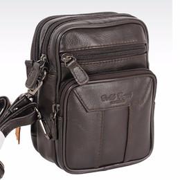 Wholesale Men Shoulder Bag Fanny Pack - First Layer Cowhide Messenger Shoulder Bag Belt Hip Bum Pack Vintage Designer Travel Casual Men Genuine Leather Fanny Waist Bags