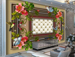 flores para fronteiras Desconto Personalizar foto papel de parede borda flor e pássaro mural sala de estar quarto 3d mural papel de parede foto mural de parede