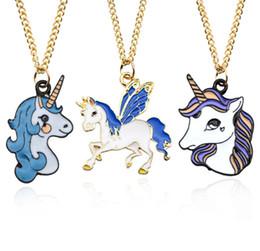 2019 joyería de la mosca Unicornio de los niños collar de dibujos animados mosca caballo colgante collar mujeres joyería de aleación de cadena de clavícula princesa accesorios regalo chirstmas F2154 rebajas joyería de la mosca