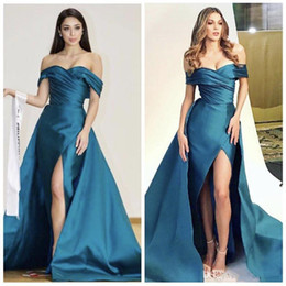 Wholesale Teal Lace Chiffon Dress - Teal Blue Sexy Split Evening Pageant Dresses with Overskirt 2018 Custom Make Off Shoulder Pleated Soft Satin Occasion Prom Dress