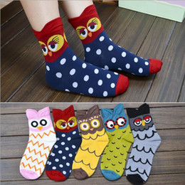 Wholesale Korea Girls Style - Korea Style Stereo Owl Socks Women Big Girl 100% Cotton Cartoon Socking Middle tube socks A08