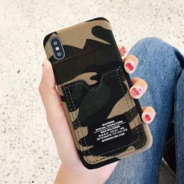 Telefones móveis do exército on-line-2018 moda camuflagem verde do exército do telefone móvel shell cartão de denim tampa traseira para o iphone x 6 6 plus 7 7 mais 8 8 plus protetora