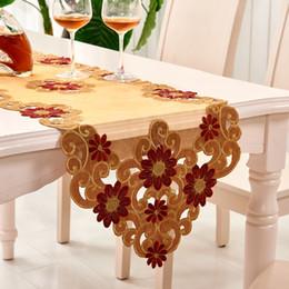 mantel redondo bordado Rebajas Corredor de la tabla de la boda para la decoración del banquete de la boda Mantel bordado del oro alrededor del corredor de la tabla del partido
