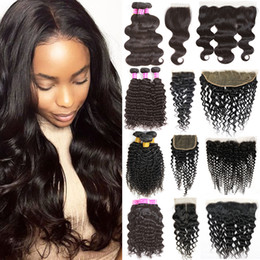 Wholesale Hot 32 - Hot Items Mink Brazilian Virgin Hair Bundles with Frontal Closure Body Wave Straight Human Hair Bundle Lace Closure 4x4 and 13x4 Weaves