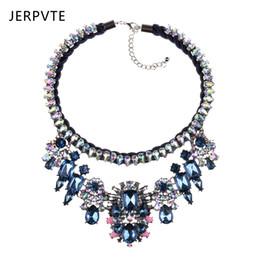 Shourouk dei monili di modo online-Gioielli di moda all'ingrosso Shourouk blu fiore di cristallo choker collane dichiarazione strati personalizzati a mano collana per le donne