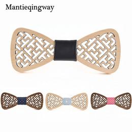 Mantieqingway New Arrivals Moda Pontos Sólidos Bowtie De Madeira De Casamento Para Homens Handmade Laços Mulheres / Homens Festa Gravata Gravatas de