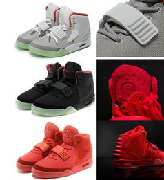 Wholesale mens glow dark shoes - 2018 Kanye West Shoes NRG Red Octobers Shoes Gamma Blue Glow In The Dark Women And Mens Kanye West 2 Basketball Shoes 8-12