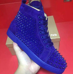 Wholesale Love Deeper - [paper bag+receipt] Classice Studded Sneakers Paris Men Love Shoes Red Bottom Spikes High Sneaker Unisex,Luxury Design Soles Red Wholesale
