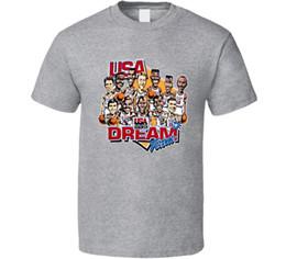 2019 usa t-shirt da basket T-shirt da basket caricatura retrò di Usa Dream Team usa t-shirt da basket economici