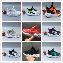 Wholesale White Baby Canvas Shoes - Baby Kids Run Shoes Airs Huarache 4 IV Running Shoes Boost Huaraches Children Athletic Shoes Boys Girls Black White Sport Training Sneakers
