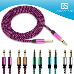 Conector de 3,5 mm online-Cable de extensión AUX de audio para automóvil Cable de nylon trenzado de 3 pies 1 M con cable auxiliar estéreo Jack 3.5mm Cable macho para Apple y Andrio Altavoz de teléfono móvil