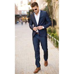 Wholesale Navy Costumes For Men - Navy blue men suit Tuxedos Groomsman Mens Wedding Suits blazer for men slim fit blazer design costume homme jacket+pant 2018