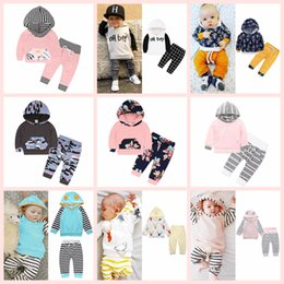 Wholesale organic babies - INS Kids Clothing Set Cotton Floral Striped Suit With Cap Hat Outfits Baby Sets Long Sleeve Children Animal Hoodies Pants AAA125