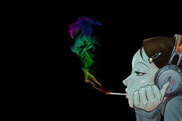 smoking girl painting Promo Codes - Fallout Free Shipping Painting On Canvas Room Decoration Print Picture Wall Art Unframed cartoon girl headphones smoke colorful