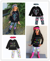 Wholesale Wholesale Fashion Pants - 2018 Girls Childrens Clothing Sets Feather T-shirts Floral Pants Headbands 3Pcs Set Autumn Fashion Girl Kids Boutique Enfant Clothes Outfit
