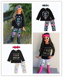 Wholesale Cotton T Shirt Kids - 2018 Girls Childrens Clothing Sets Feather T-shirts Floral Pants Headbands 3Pcs Set Autumn Fashion Girl Kids Boutique Enfant Clothes Outfit