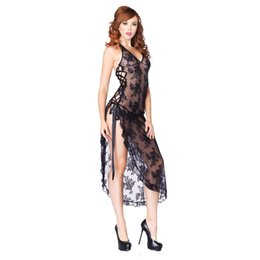 df868a14a2 women see through nightgown 2019 - Black Red Women Summer Long Night Dress See  Through Lace