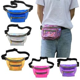 Wholesale laser belts - 7 Colors Laser Waist Bag Waterproof PU Waist Pack Hologram Chest Beach Bags Belt Bag Unisex Pocket Laser Fanny Pack CCA9732 12pcs