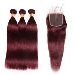 Wholesale Ombre Hair - Ishow Hair Brazilian Hair Weaves Extensions 99j Straight Human Hair 3Bundles with Closure 1b Purple Free Shipping