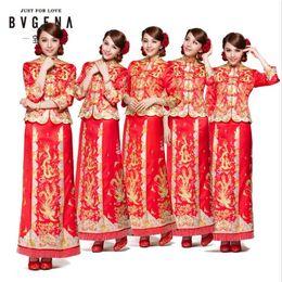 Wholesale Phoenix Clothing - Dragon gown bride wedding dress chinese style costume Phoenix cheongsam evening dress show clothing slim Style for the Wedding