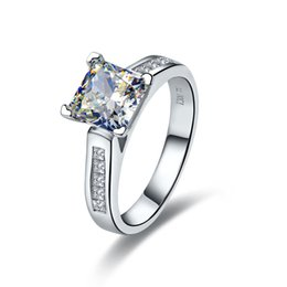 vintage diamond princess ring 2018 - 2CT Vintage Princess Cut Solid Sterling Silver Engagement Ring Synthetic Diamonds White Gold Color Quality Marriage Jewelry