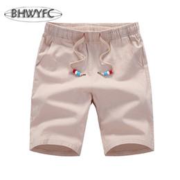 Wholesale Mens White Beach Pants - Wholesale-BHWYFC Summer Beach Pants Shorts Mens Cotton Linen Running Shorts Elastic Five-point Trousers Pure Color