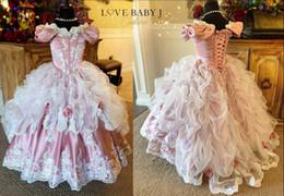 2019 Belle Princesse De Bal Robe Robe De Concours Corset Dos À Volants En Dentelle Applique Fleur Filles Robes Sur Mesure Made Toddler Robes D'anniversaire ? partir de fabricateur