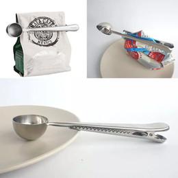 cucchiaio di gelatina Sconti Cucchiaio dosatore in acciaio inox con sigillo sacchetto Clip multifunzione in argento gelatina gelato frutta cucchiaio cucchiaio accessori da cucina WX9-473