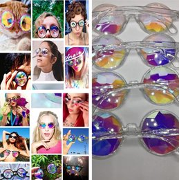 bcaa6c21a4 eyeglass frames crystal 2019 - Newest Women Geometric Kaleidoscope Glasses  Rainbow Rave Lens Bling Bling Prism