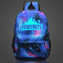 Wholesale friendly clothing - 12 Designs 20L Fortnite Battle Royale School Bag Noctilucous Backpack Student Shoulder Bag Luminous Backpacks Outdoor Bags 12pcs