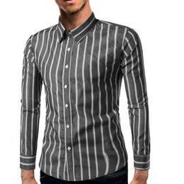52c6d8b8b665bb 2019 langarm streifen kleid shirt 2018 Mode Männliches Hemd Mit Langen  Ärmeln Tops Klassischen Stil Streifen