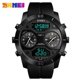 reloj skmei dual Rebajas SKMEI 1355 Nuevos Hombres Relojes de Pantalla Doble 3 Cuenta atrás 50M Reloj Impermeable Relogio masculino Relojes de Deportes al Aire Libre