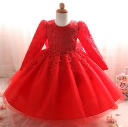 Wholesale Short Frocks - Toddler Girl Infant Lace Christening Gown Princess Girl Baby Party Frock Wedding Bridesmaid Baptism First Birthday Dress Vestido