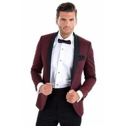 2017 männer Anzug Burgunderrot Jacke Schwarze Hosen Regular Fit Schlank Für Hochzeit Prom Bräutigam Smoking Männer Anzüge Blazer Stil (Jacke + Pants) von Fabrikanten