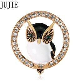 2019 kristall eule stifte JUJIE Neue Stil Vintage Eule Brosche Für Frauen T-shirts Kristall Tier Revers Pins Exquisite Weiblichen Wolljacke Schmuck Dropshipping günstig kristall eule stifte