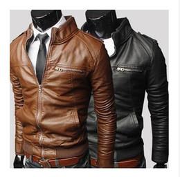 Casacos de motocicleta de couro patchwork on-line-Novo Mens Jaqueta De Couro PU Curto Magro Lazer Wash Outwear Masculino Casaco de Alta Qualidade Casaco de Motocicleta Casuais