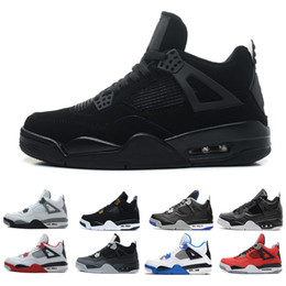 Wholesale pure peach - 2018 4 mens Basketball Shoes 4s Pure Money Royalty White Cement Bred Military Blue Fire Red bred men trainers Sports Sneakers size 8-13
