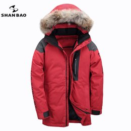 Wholesale Russian Coats - 2017 winter Russian warm thick high quality casual men's down jacket fur hooded white duck down parka coat Black Red Khaki