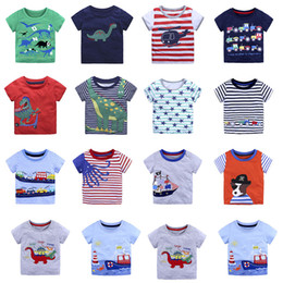 Wholesale Summer Children Cartoon Tees - Baby animal cartoon T-shirts children boys print tops summer stripe Tees 2018 new Boutique kids Clothing 14 colors C3884
