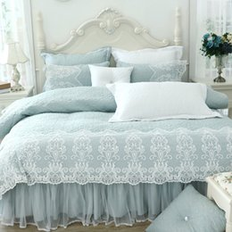 Wholesale Thick Cotton Comforters - Thick cotton winter bed cover set lace princess girls bedding set twin queen king size 4 8pcduvet cover bed skirt set pillowcase