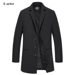 Wholesale Thin Overcoat - E-artist Mens Slim Fit Thin Long Blazer Jackets Business Casual Suit Coats Male Outwear Overcoats for Spring Autumn X751