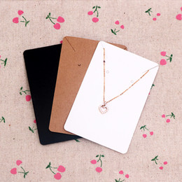 Wholesale Wholesale Custom Necklaces - 6*9cm 100pcs lot Jewelry Display Card Price Tag Kraft Paper Earring Holder Necklace Cards Can Custom Logo