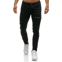 Jeans bassi per gli uomini online-2018 New 3colors Hole Zipper Jeans uomo Slim Fit Denim Pants Low Straight Hip Hop Jeans Pantaloni da uomo Pantaloni da uomo Cowboy