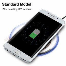 Qi беспроводной зарядное устройство черный онлайн-Универсальный Qi Wireless Charger pad Белый Черный Кристалл Led light Беспроводное зарядное устройство для Samsung S3 S4 S6 S7 Edge для iPhone 5 6 7