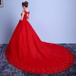 Wholesale cm pictures - Vestido De Noiva 2018 New White Red Wedding Dress 100 Cm Cathedral Train Wedding Dress Plus Size Crytal Wedding Dress