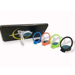 Soportes para móviles online-Color de la impresión de teléfono móvil soporte del anillo de dedo ABS hoja de material de hierro succión magnética perezoso persona titular de regalo de teléfono móvil