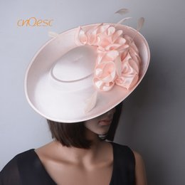 8a6d76e64a7 NEW ARRIVAL Nude pink large saucer fascinator satin fascinator for Races  Wedding Mother s day derby